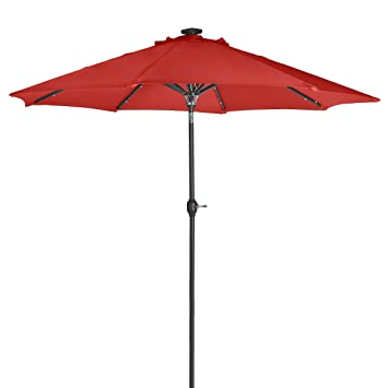 Wonderful Sunergy 50140851 9 Ft Solar Powered Metal Patio Umbrella 24 LED Lights  Scarlet