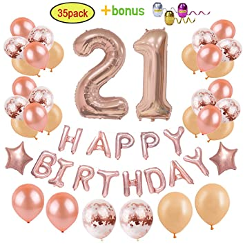 Amazon 21st Birthday Decorations Party Supplies For Girls Women
