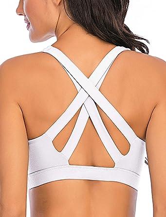 Womens Strappy Criss Cross Bralette Wireless Sports Bra Removable Padded Cutout
