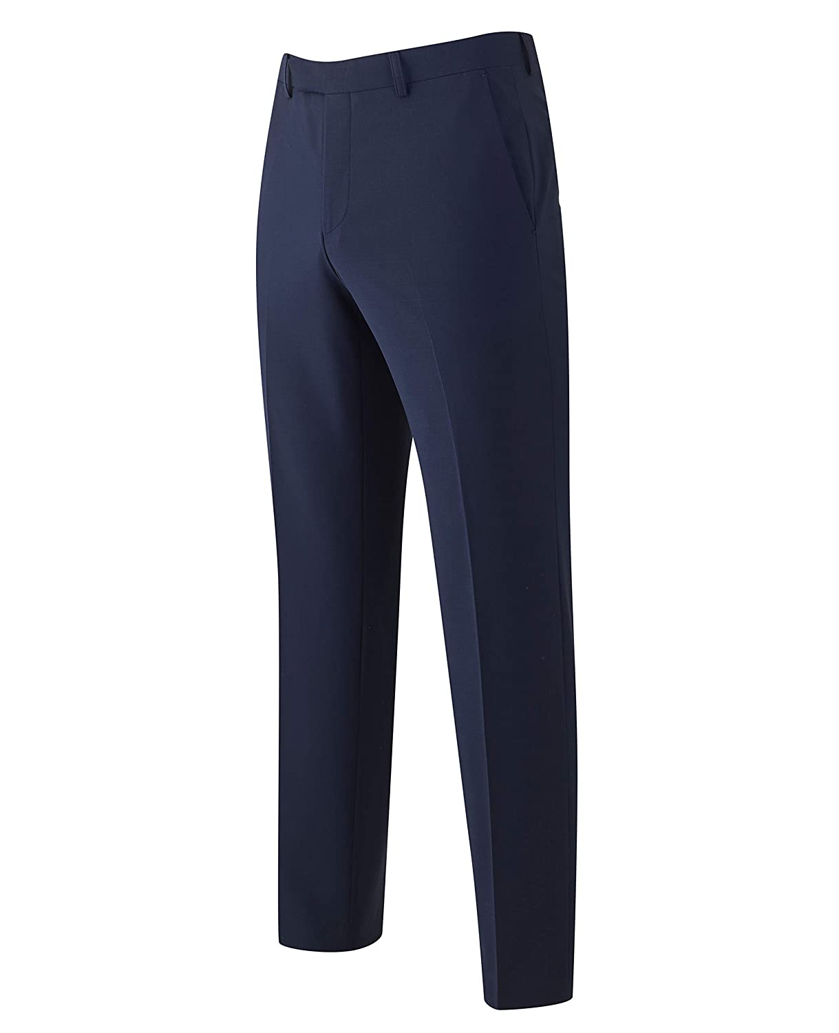 Savile Row Company Mens Navy Wool-Blend Suit Trousers