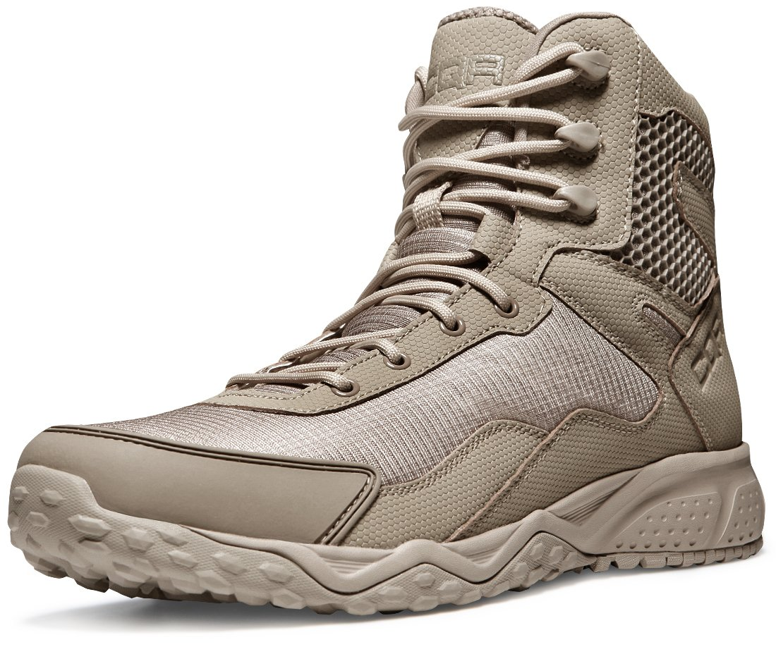 CQR CQ-BZ101-TAN_Men 8 2E(M) Men's Side-Zip Combat Military Tactical Mid-Ankle Boots EDC OutdoorAssault BZ101