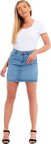 DeMIna  A-Line denim skirt Stonewash A line Denim sizes 4 to 18 Stone Wash