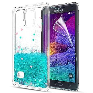 LeYi Funda Samsung Galaxy Note 4 Silicona Purpurina Carcasa con HD Protectores de Pantalla,Transparente Cristal Bumper Telefono Gel TPU Fundas Case ...
