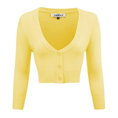 95860f8e1 YEMAK Women's Cropped 3/4 Sleeves Cardigan Sweater Vintage Inspired Pinup, Baby Yellow,