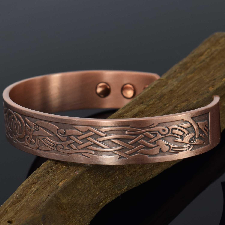 Bracelet Viking en Cuivre Pur Id/ée Cadeau Bracelet Jonc pour Toutes les tailles Bracelet Magn/étique Super Cadeau pour Homme Anniversaire Bo/îte Cadeau-VG M: Poignet 16,5-19cm