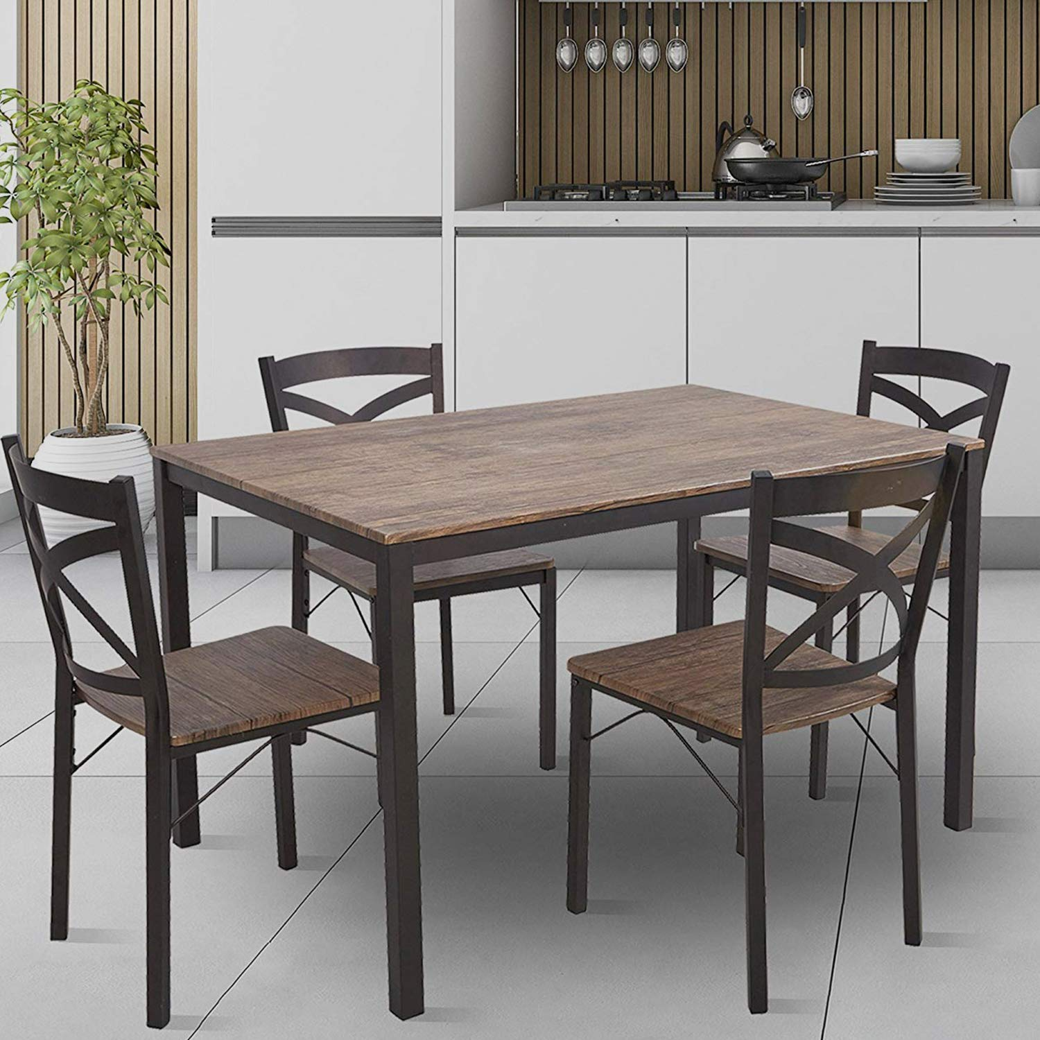 KARMAS PRODUCT 5 PC Wood Dining Set Table and Chairs for 4 Person with Metal Legs,Home Kitchen Breakfast Furniture,Espresso