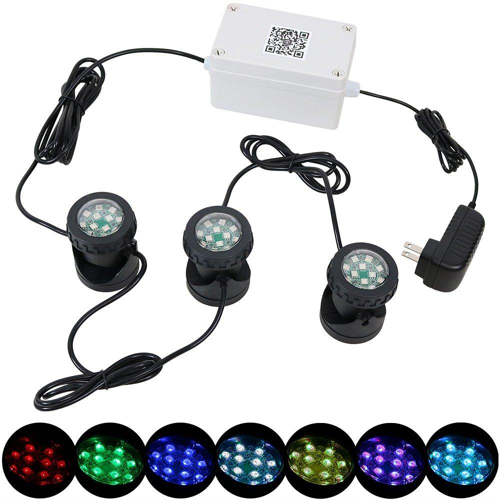 Sunnydaze Outdoor Multi-Color Submersible LED Light Kit, Smartphone App-Controlled Color-Changing Wi-Fi Landscape Lights - 3 Lights