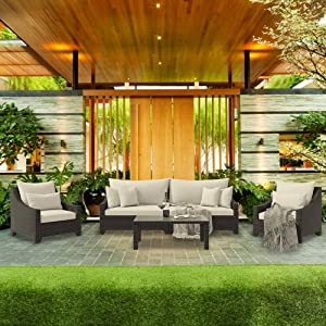 Cloud Mountain 5 Piece Patio Conversation Set Garden Cushioned Sectional Sofa Set Outdoor Furniture Set Deep Seating, Black Wicker with Grey Beige Cushions
