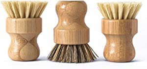 ECOLULU Natural Bamboo Dish Brush Plant Based Bristles | 3 Pack Wooden Dish Brush | Bamboo Scrub Brush for Cleaning Dishes, Pots, Pans and Vegetables | Biodegradable Eco Friendly Products