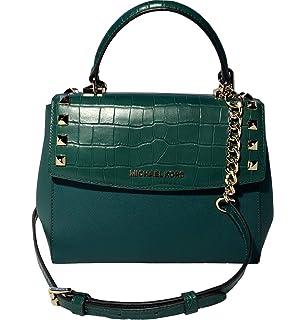 6ca6605e7ef0 Michael Kors Karla Women s Medium Leather Satchel Crossbody Bag Purse  Handbag