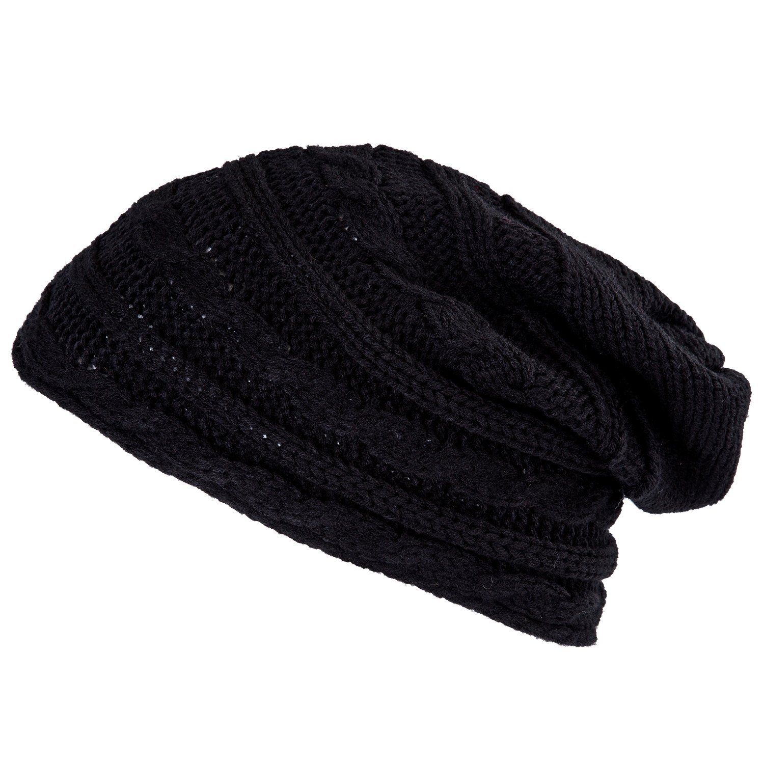 SODIAL(TM) Winter Black Oversized Cable Knit Baggy Beanie Slouch Hat Unisex  Fashion at Amazon Women s Clothing store  Cold Weather Hats 3ef8040110e1
