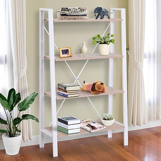 Homcom - Estantería de escalera con 4 estantes de madera y acero, color blanco y roble, 80 x 33 x 133,5 cm: Amazon.es: Jardín