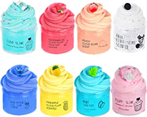 Consepcion New 8pack Cloud Slime,with Mint Leaf ,Peach,Watermelon,Pineapple,Stitch,Oreo,Cake ,Latte Coffe Cup Slime,Super Soft and Non-Sticky Slime for Boy and Girl