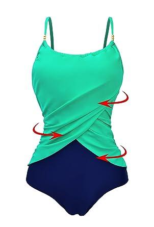 0dbccd68079d2 Zando Womens Vintage Frilly One Piece Swimsuit Tummy Control ...