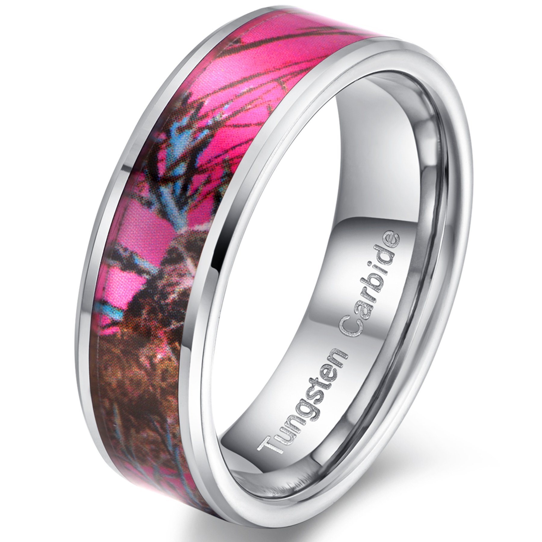 Womens 8mm Tungsten Carbide Ring Pink Camouflage Hunting Camo Oak Wedding Engagement Band Comfort Fit Size 6.5