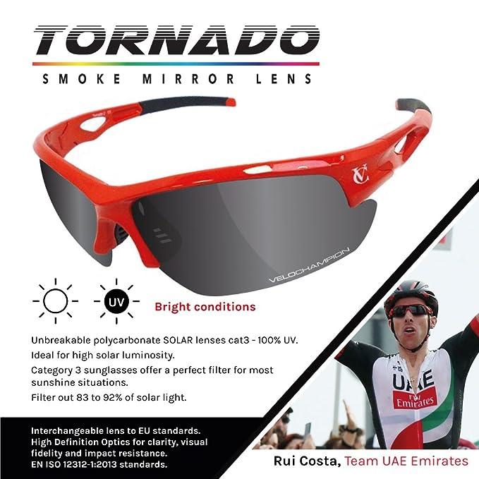 VeloChampion Tornado Sonnenbrille, Rot, mit 3 Linsen und Weichem Gehäuse