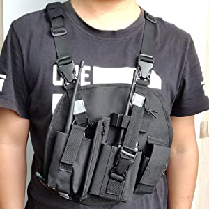 Lewong Universal Hands Free Chest Harness Bag Holsterfor Two Way Radio (Rescue Essentials) (Black with 3 Bag) (Color: black with 3 bag)