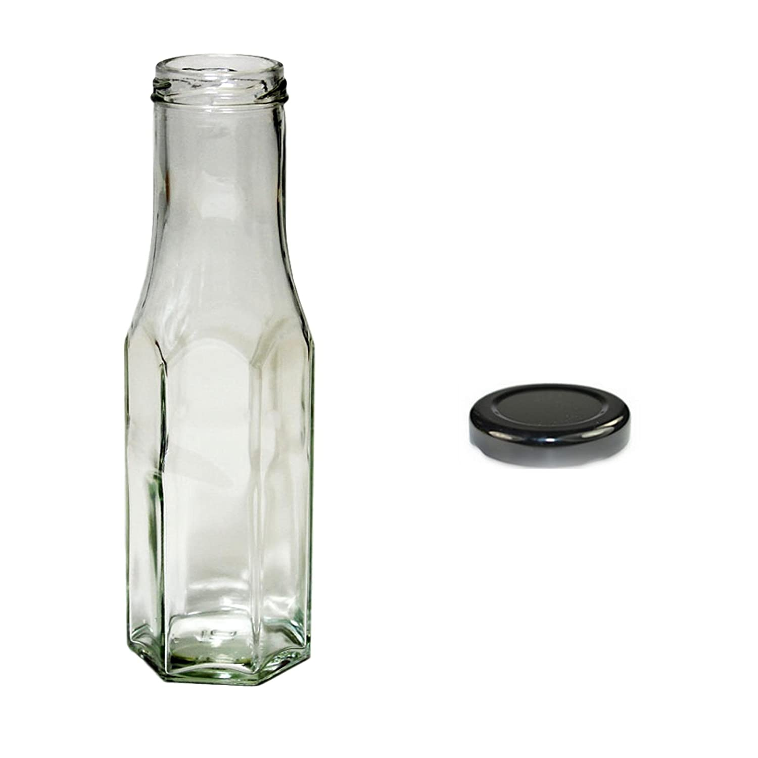 5x 250ml Clear Hexagonal Sauce Bottles with Black Screw Cap West5Products