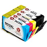 Uoopo 903 L 903XL Compatibile per HP 903XL Cartucce d'Inchiostro per HP OfficeJet 6950 HP OfficeJet Pro 6960 6970 All-in-One Stampante. Confezione da 5 (2 Nero 1 Ciano 1 Magenta 1 Giallo)