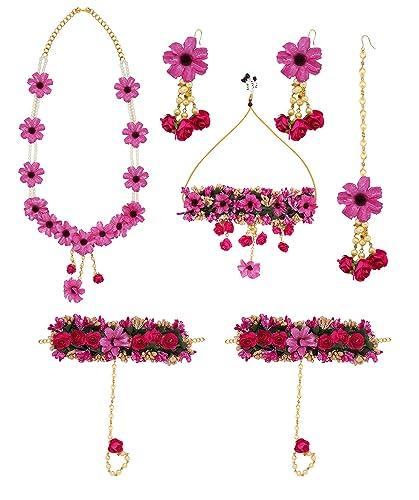 Buy Ekan Bridal Mehndi Florel Pearl Designer Pink Flower Jewellery