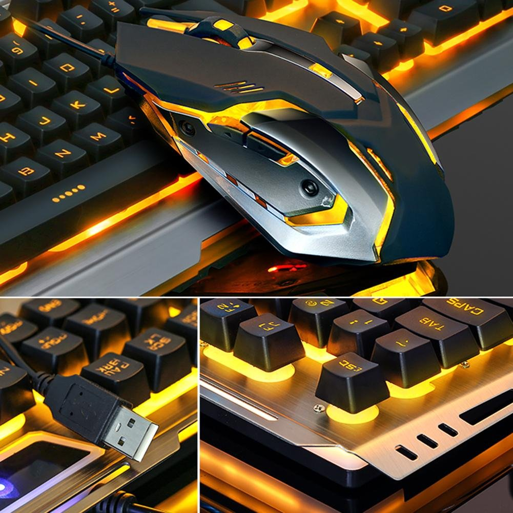 e8c307c9fcf Amazon.com: vanpower Gaming Keyboard Mouse Combo, Wired USB Mouse and  Keyboard Set with Ergonomic Design,Aluminium Alloy Panel,4000  DPI,Seven-Color Backlit: ...