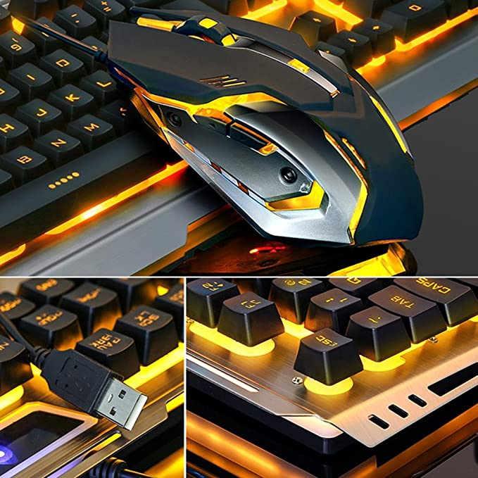 86a52da1230 Easydeal V1 USB Wired Ergonomic Backlit Mechanical Feel Gaming Keyboard  Mouse Set: Amazon.co.uk: Computers & Accessories