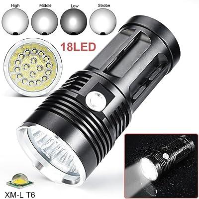 Ohq Lampe De Poche 18 T6 45000lm 18 X Cree Xm L T6 Led 4 Modes Lampe