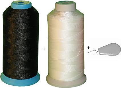 2 spool Black /& White Bonded Nylon sewing Thread V-277 T270 Upholstery  leather