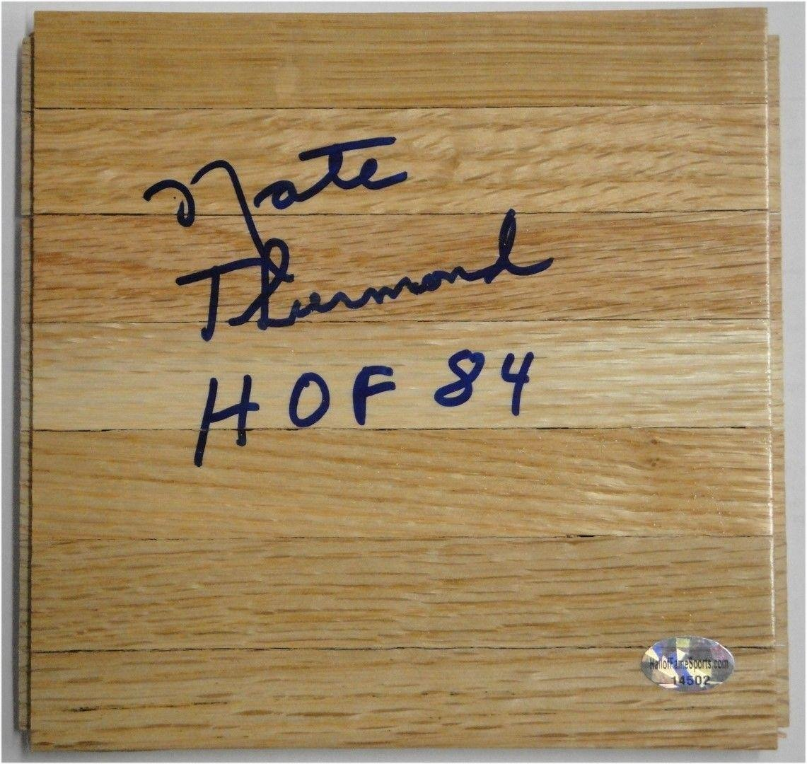 Nate Thurmond Hand Signed Piece of Wood Floorboard Golden State Warriors HOF 84 - Autographed NBA Floor Boards Sports Memorabilia