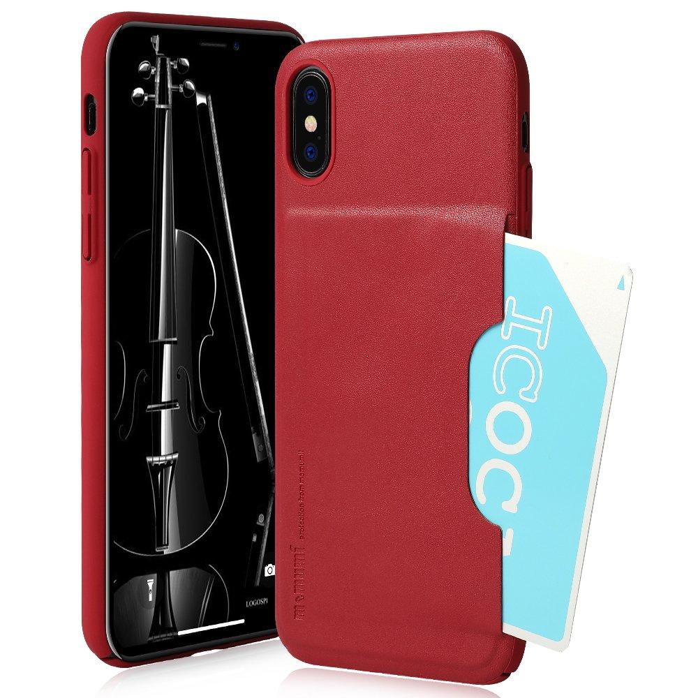iPhone Xケース、スリムカードポケット裏カバーアドバンススリップ耐性/耐衝撃保護レザーケース(1カードスロットホルダー付き)iPhone X 5.8