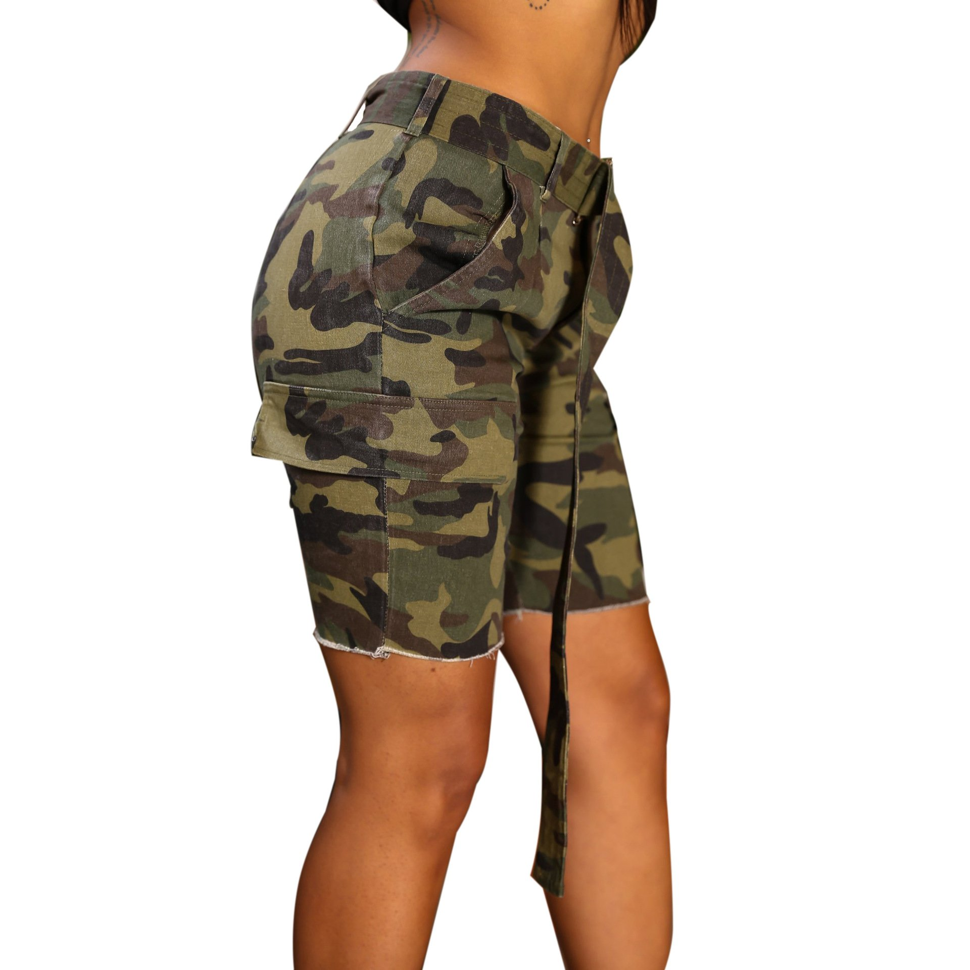 PINLI Camouflage Womens Denim Shorts Sexy Casual Summer Stretch Plus Size high Waisted Beach Jeans Shorts Capri (Camo L) by PINLI (Image #4)