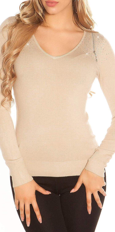 KouCla Pullover V-Cut Strickpullover Pulli mit Schnürung
