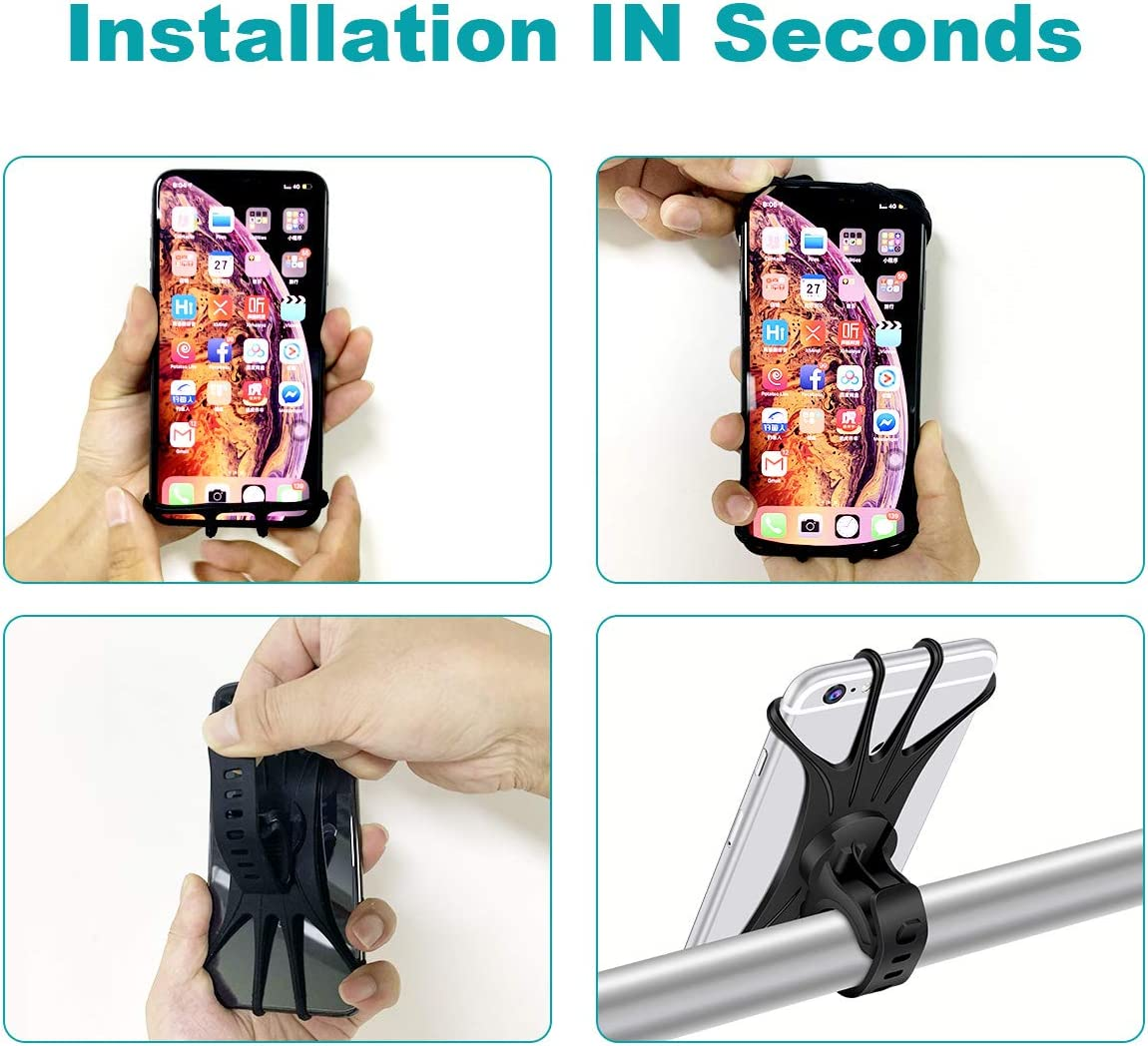 LG 4.0-6.5 Phones Universal Bike Phone Mount Detachable 360/° Rotation Motorcycle Bicycle Holder for iPhone Xs MAX//XR//X//8//8P//7//7P//6//6P,Galaxy S7//S8//S9//S10,Google Pixel Nexus,Nokia HTC