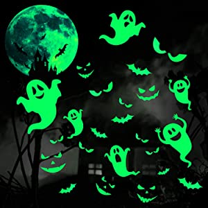 5 Sheets Halloween Luminous Stickers Halloween Glow in Dark Window Decals Removable Ghosts Bats Moon Peeping Eyes Wall Stickers Night Glow Decals for Halloween Theme Party