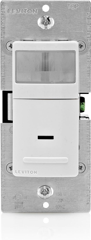 Leviton IPS15-1LZ Decora Motion Sensor In-Wall Switch, Auto-On, 15A, Single Pole or 3-Way/Multi-sensor w/ Remote, White/Ivory/Light Almond