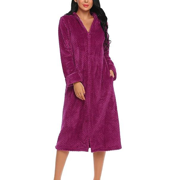 Mujer Albornoz Elegantes Moda Cómodo Suave Invierno Color Sólido Otoño Mode De Marca Batas Manga Larga con Bolsillos Cremallera Kimono Camisones: Amazon.es: ...