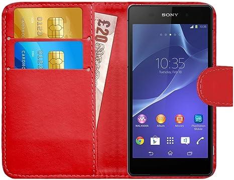 G-Shield Funda para Sony Xperia Z2, Carcasa de Cuero con Ranuras para Tarjetas, Rojo