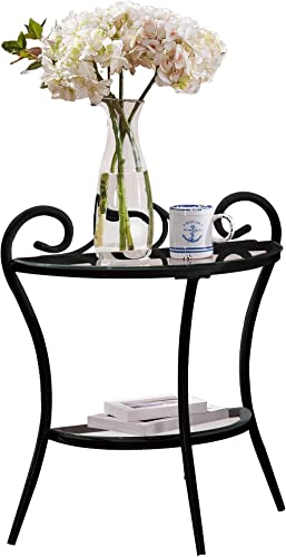 Kings Brand Furniture – Hammer Metal Night Stand Table With Glass Shelf, Black