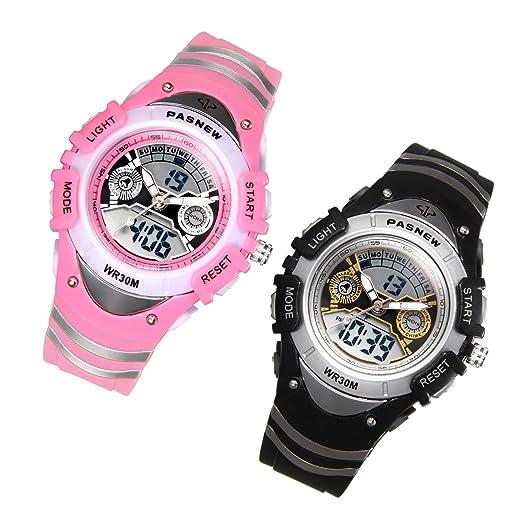 JewelryWe 2pcs Relojes para Niños Niñas Analógico Digital Reloj Deportivo Para Aire Libre, Reloj Infantil Negro Rosa, 3ATM A Prueba de Agua Buen Regalo ...