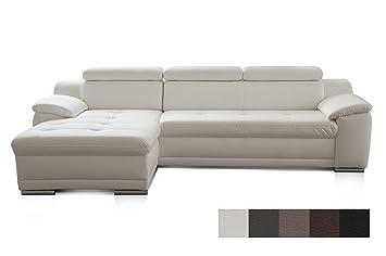 Cavadore Ecksofa Aniamo mit XL-Longchair links / Ledercouch L-Form mit  Kopfteilfunktion im modernen Design / Sitzecke für Wohnzimmer in Lederoptik  / ...