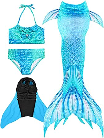 Wishliker Traje de baño de Cosplay para Nadar Cola de Sirena para niñas con Bikini y Monofin
