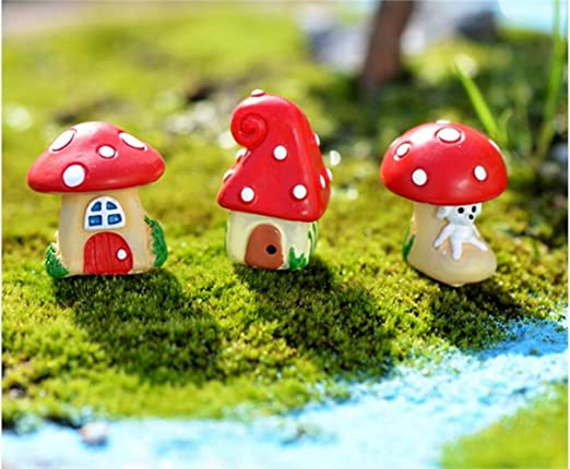 Decoración de Hadas del jardín 1 PC Mini Resina Mushroom House Micro Paisaje Home Garden Decoration Craft (Estilo Aleatorio) Ornamento del Paisaje: Amazon.es: Hogar