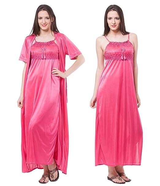 Fasense Satin Nightwear 2 PCs Set of Nighty   Wrap Gown  Amazon.in ... 915d85063