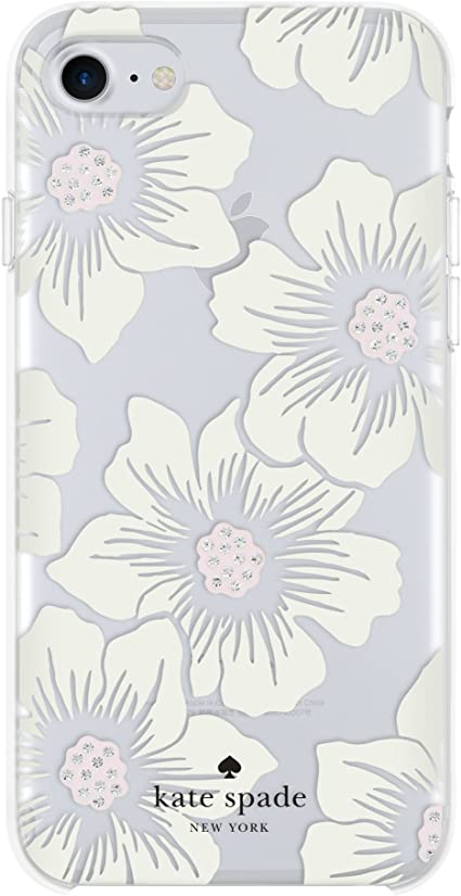 Amazon Com Kate Spade New York Phone Case For Apple Iphone 8 Iphone 7 Iphone 6s And Iphone 6 Protective Phone Cases With Slim Design Drop Protection And Floral Print Hollyhock Cream Blush Crystal Gems Clear