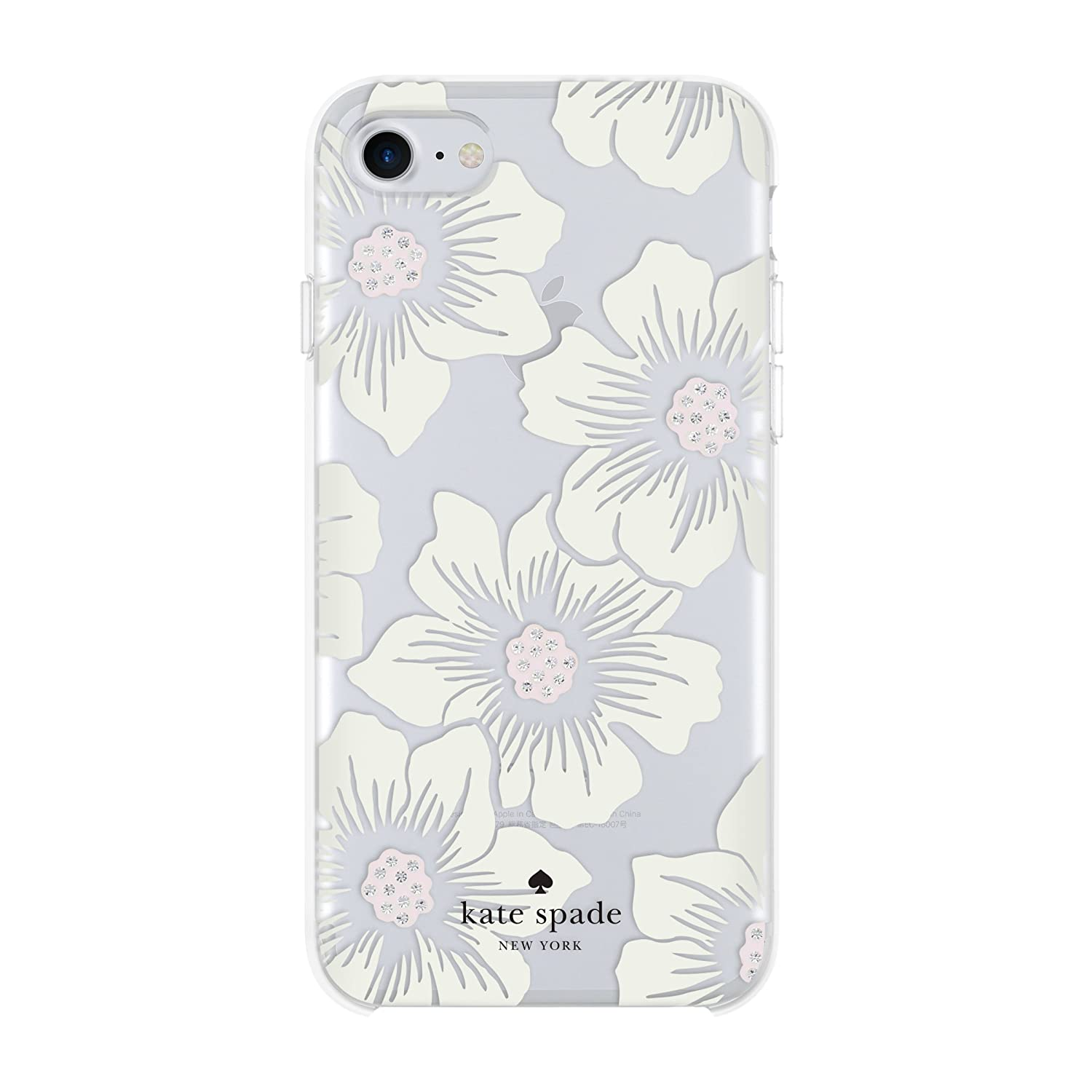 Kate Spade New York Phone Case|For Apple iPhone 8, iPhone 7, iPhone 6S, and iPhone 6|Protective Phone Cases with Slim Design, Drop Protection,and Floral Print-Hollyhock Cream/Blush/Crystal Gems/Clear