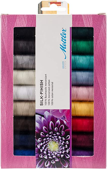 Mettler Silk Finish Assorted Quilting Colourful Thread Pack 18 x 150m Spools