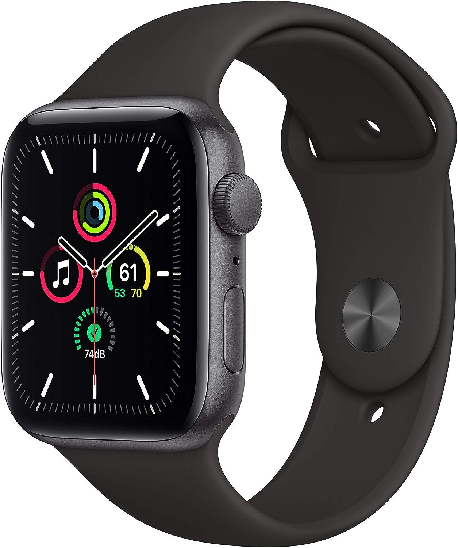 Nuevo AppleWatch SE (GPS, 44 mm) Caja de Aluminio en Gris Espacial - Correa Deportiva Negra