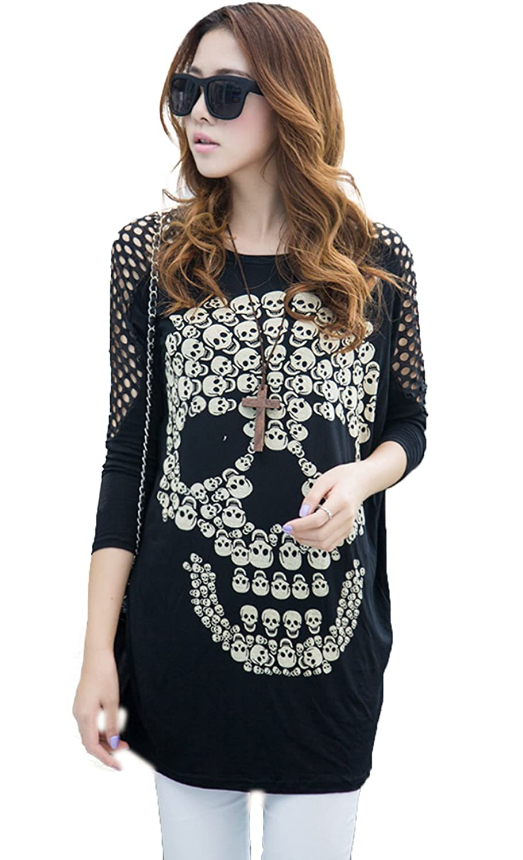 Dillian Womenss Hollow Out Long Sleeves Skull Print Tops Black Dillian-ASskull-black