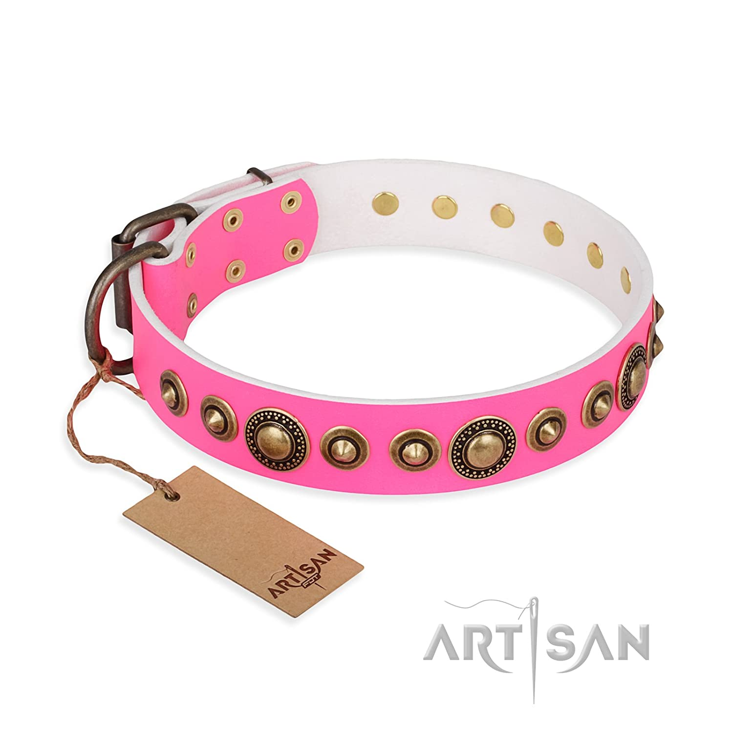 Fits for 31 inch (78cm) dog's neck size FDT Artisan 31 inch Pink Leather Dog Collar with Brass Plated Decor Fancy Schmancy