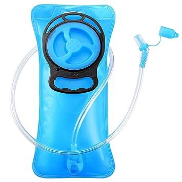 GIM - Bolsa de hidratación (2 L, Incluye válvula de autobloqueo), Color Azul
